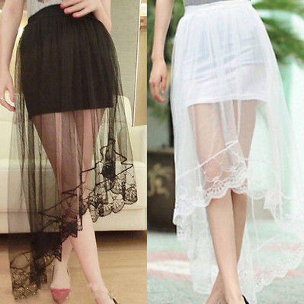2017 Vintage jupe femmes maille perspective dentelle queue extensible taille haute patineur évasé plissé longues jupes noir blanc