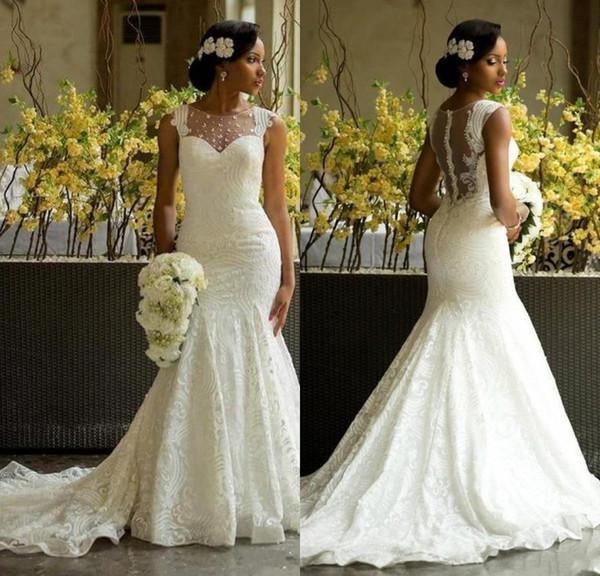 Sereia Africano Vestidos de Casamento Ilusão Decote País Vestidos De Noiva Nigeriano Rendas Botão Coberto De Volta Sexy Aso Ebi Vestido de Noiva Do Laço