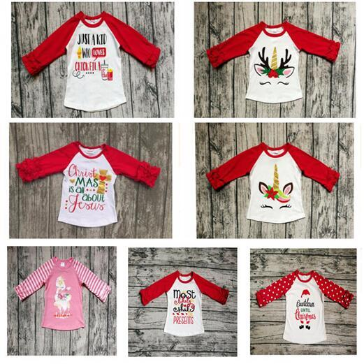 Long Sleeve T-shirt Unicorn Baby Girl Boys Cotton Clothes Tshirt Letters Christmas Children Tee Tops Clothes Best Gifts Free Shipping