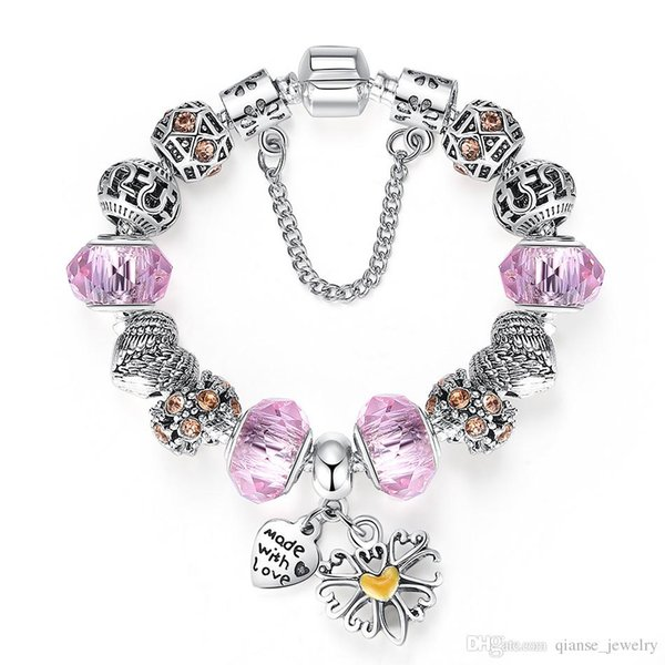 Lovely Pink Muarno Glass Charm Bracelet with Safety Chain 925 Silver Heart Charm Bracelet for Women Authentic Jewelry