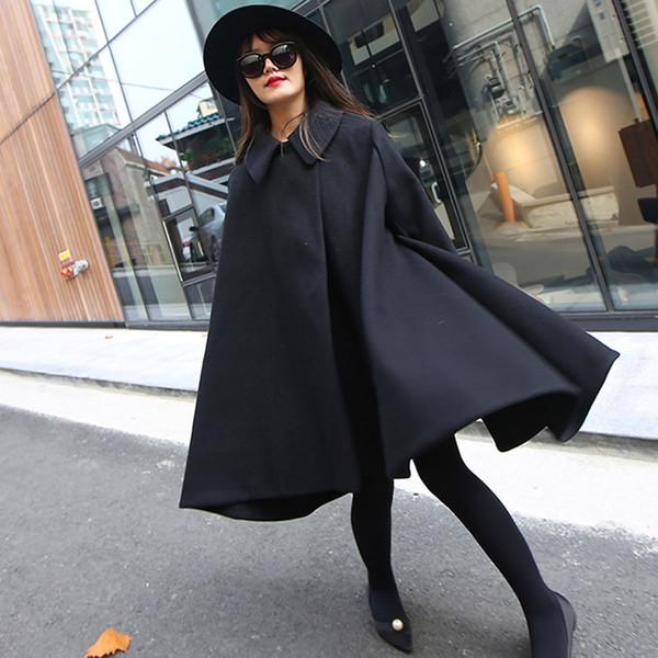 Mujer Cape Largo D9 Abrigo Mantel Parka Winter Lammig Größe Tweed Top Wollmischung Plus Schwarz Großhandel Damen Vintage Lq5Aj34R