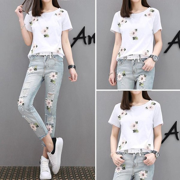 Women Jeans Two Piece Set Pants Set T-shirt Set Jeans Pants Sets for Women Fashion Clothing