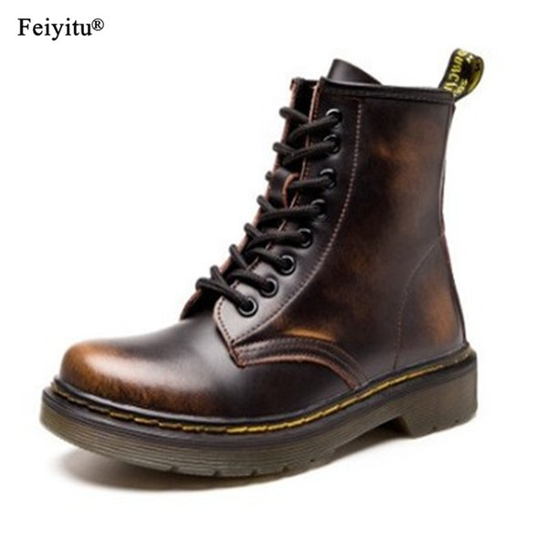 feiyitu Men Ankle Boots Shoes man 2019 Spring Fall Genuine Leather Lace Up Warm Shoes Punk Plus Size 35-46 Riding Equestr Boots