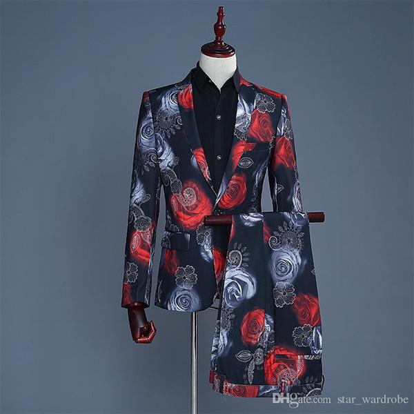 Venta al por mayor de manga larga de alta calidad de color rojo y azul de Rose patrón de la chaqueta de la chaqueta de la capa de la chaqueta del club nocturno Singers Etapa traje de pantalones