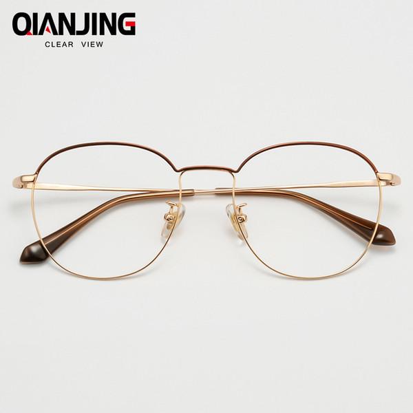 QianJin Чистого Титана Оправа Женщины Старинные Очки Мужчины Компьютер Оптический Ретро Очки Для Женщин Мужской Прозрачные Линзы
