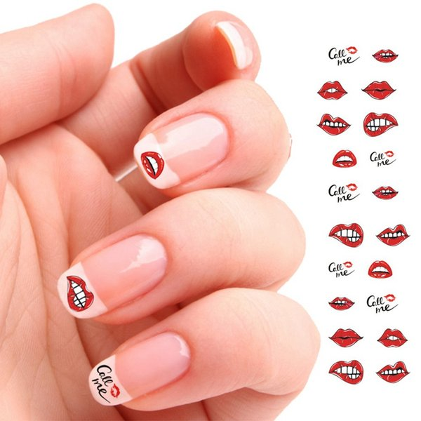 Fashion DIY lipstick/High Heel/Love Heart Image For Nails Tips Decor Nail Art Water Transfer Sticker Decals