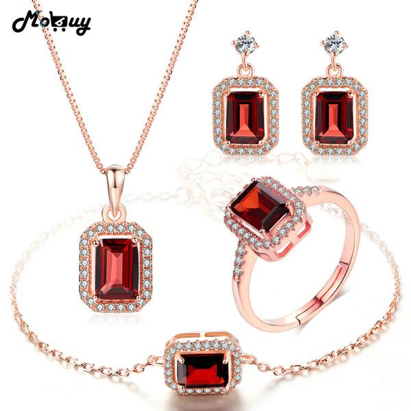 MoBuy Joyería de piedras preciosas naturales 4 unids establece 100% 925 plata esterlina para las mujeres regalo de boda joyería de granate fino V011EHNR