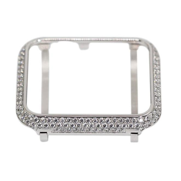 for apple watch series 3 platinum silver crystal case handwork encrusted rhinestone diamond bezel compatible series 2 and 1 38mm 42mm