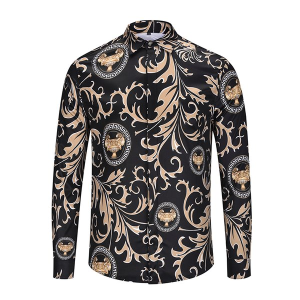 Wholesale - New Fashion Brand Men Slim Slim Men's Long Sleeve Shirt Medusa Men's Squat Shirt Casual Business Shirt GOOD