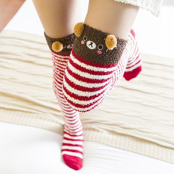 Compre Japonés Mori Chica Animal Modelado A La Rodilla Calcetines A ...
