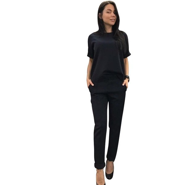 Tracksuit Short Sleeve T -Shirt And Pants Mid Line Trousers Two Piece Set Solid Color 2 Pcs Suits Outfits 4 Colors Female