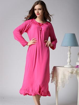Women s long-sleeve nightgown long design 100% cotton princess dress sweet  laciness lounge lengthen loose plus size sleepwear e74e5c16d