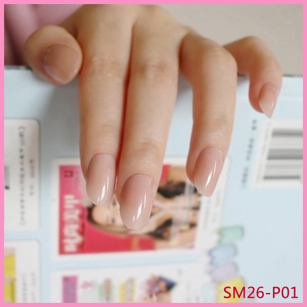 The Nailest 24Pcs Oval Fake Nails Trasparente in plastica morbida rosa Unghie finte Candy Short Nail Tips