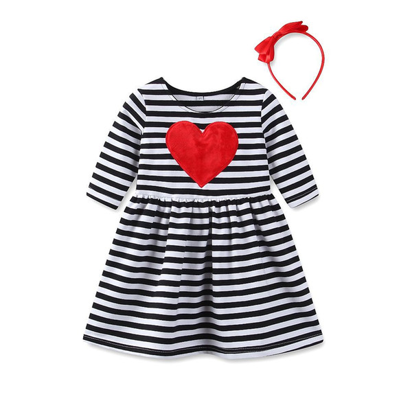 bd716f5630c Everweekend Sweet Kids Girls Love Knitted Ruffles Sweater Dress Stripes  Valentine Day Sweet Toddler Baby Fashion Clothing