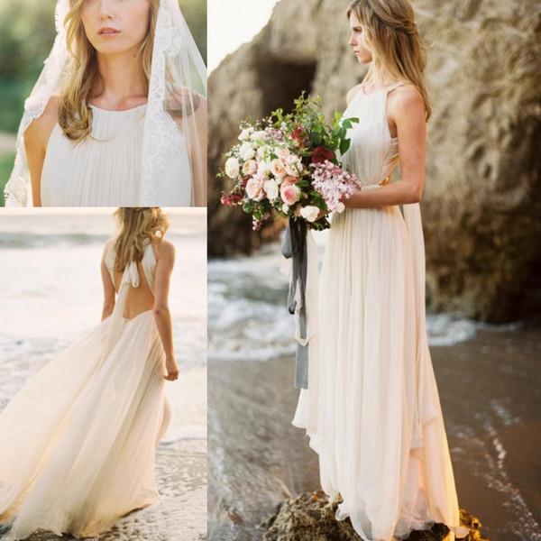 2018 Ivory Beach Wedding Dress Dropped Waist Open Back Bridal Gowns Chiffon Pleated Halter Bride Dresses Summer Autumn Simple Greek Style