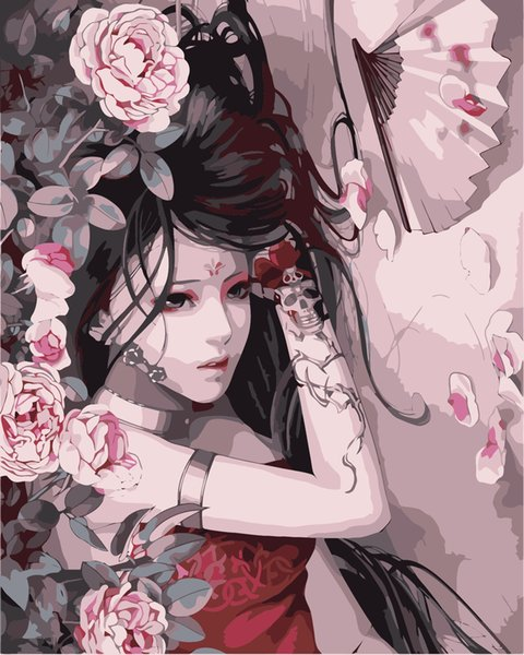 16x20'' DIY Paint On Canvas By Numbers Kits Japanese Glamorous Girl With Fan Peony Flowers Art Acrylic Oil Painting Frame For Adults