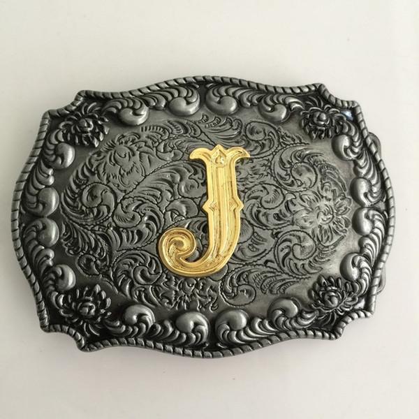 1 Stücke Gold A-J Anfangsbuchstaben Hebillas Cinturon Herren Western Cowboy Metall Gürtelschnalle Fit 4 cm Breite Gürtel