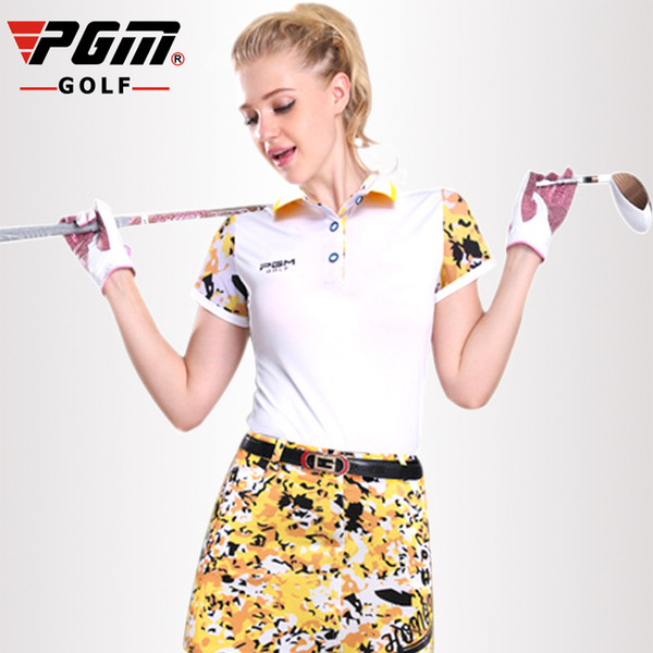 PGM Golf Polo T-shirt Women Camouflage splicing sleeves Golf T Shirt Breathable Anti Sweat Women's Short sleeves T-shirt