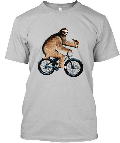 Sloth On A Fatbike Eating Pizza Stylisches T-Shirt