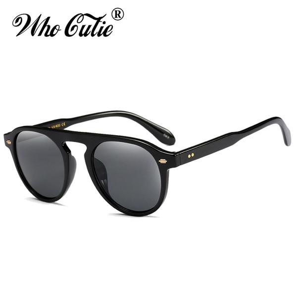 WHO CUTIE Fashion Round Sunglasses Vintage Men Women Brand Designer Small Face Frame Yellow Lens Retro Sun Glasses Shades OM825