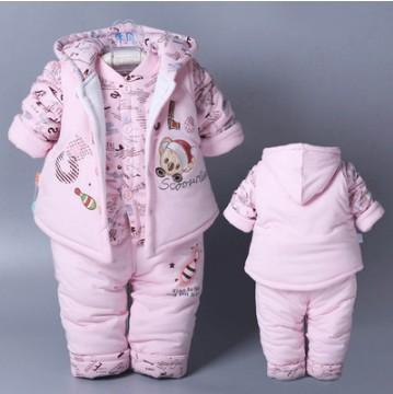Giysi 3 Adet Bebek Çocuk Güz Kış Giyim Seti Yenidoğan Kalın Pamuk-Soluk Giysiler Erkek Kız Kapüşonlu Yelek Ceket Tops Pant