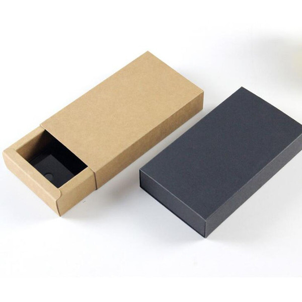 top popular Fashion Men Bow Tie Gift Box 14X7x3cm Kraft Paper Black Men Butterfly Neck Ties Bow Tie Drawer Diaplay Boxes ZA6083 2020