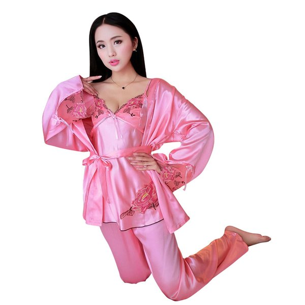 New Hot Women Autumn Satin Home Wear Lace 3-Pieces Pajamas Sets Sexy Sleep Wear Pink One Size