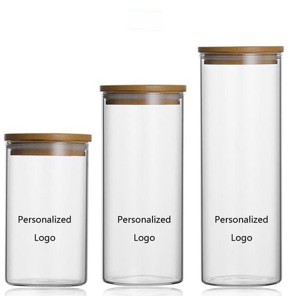 Tarro de cristal personalizado almacenamiento de alimentos Botellas de cocina latas selladas Gran capacidad caja de té caramelo Logotipo hecho a medida H1122