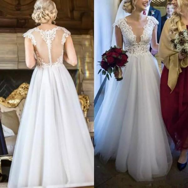 2019 Simple Beach Wedding Dresses A Line V Neck Cap Sleeve Floor Length Bridal Gowns With Lace Applique Tulle Wedding Gowns