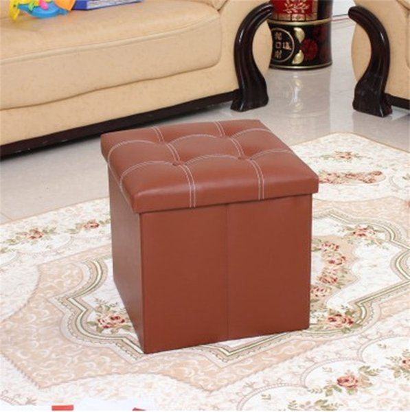 Shoe Replacement Stool Pu Leather Square Chair Creative With Multi Color Folding Storage Sturdy Durable Stools Cloth Art 32zn jj
