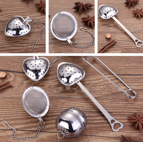 multicolor Stainless Steel Tea Strainer Tea Infuser Spoon Star Shell Heart Shape Teas ware Coffee Tools Kitchen Accessories T5I107