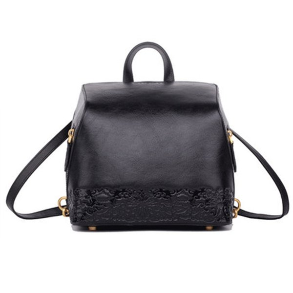 Anti-theft backpack behind the opening Cowhide leather retro embossed backpack Chinese style shoulder bag Women Travel