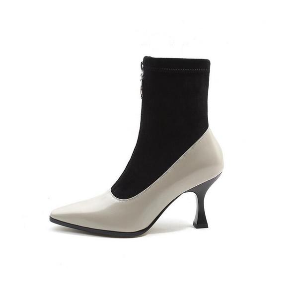 Le plus chaud Sexy Date Toe Toe et talon haut Zipper Avant Élastique Chaussures Mode Printemps Et Automne Femmes Cheville Bottes