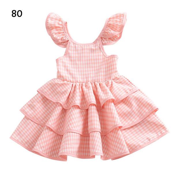Hot Europe And America Style Explosion Children's Skirt Summer Baby Plaid Flying Sleeves Backless Dress Girls Cake Pettiskirt