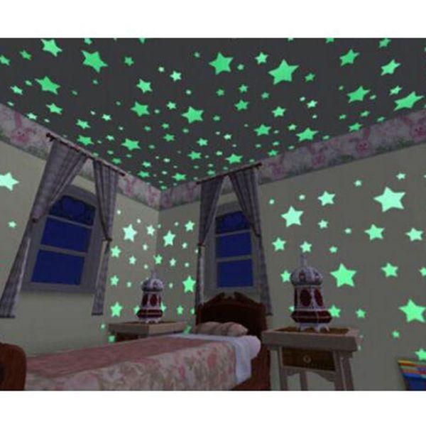 100 adet / torba Harika Katı Yıldız Karanlıkta Glow 3 CM moda çocuk Odası Koridor Tavan Floresan Duvar Sticker Ev dekor