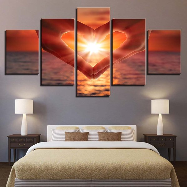 5 Panel Sunrise Love Seaview Living Room Pictures Home Decor Modular Painting Wall Art Poster HD Printed Modern Canvas