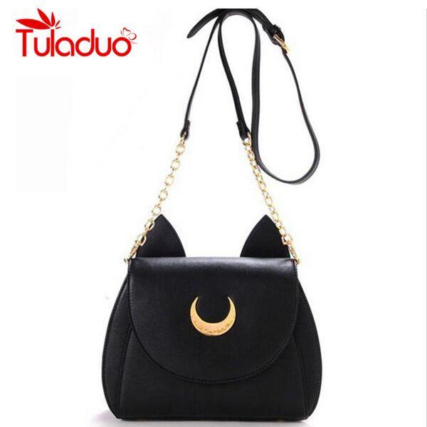 2019 Fashion 2018 New Summer Limited Sailor Moon Chain Shoulder Bag Ladies Luna Cat PU Leather Handbag Women Messenger Crossbody Small Bag