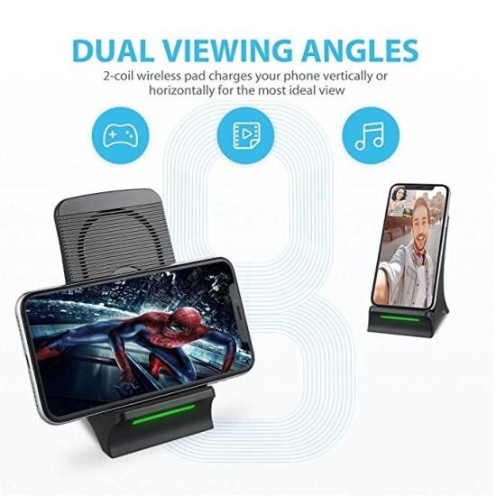 Fast Wireless Charger with Cooling Fan Qi Wireless Charging Stand For iPhone X 8 Plus Samsung Galaxy S8 S8 Plus S7 S7 S6