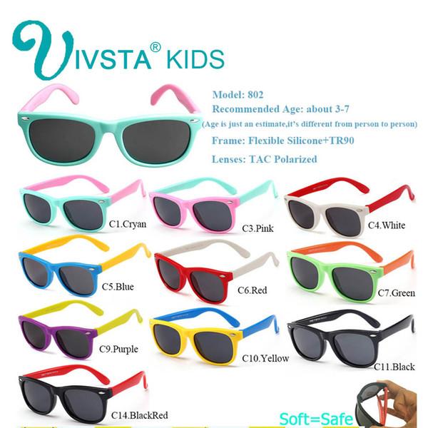 6a3ea10383 IVSTA Gafas de sol para niños Gafas para niñas Gafas de sol para niños Bebé para  niño Verano polarizado UV400 Silicona flexible suave TR90 CE FDA 802
