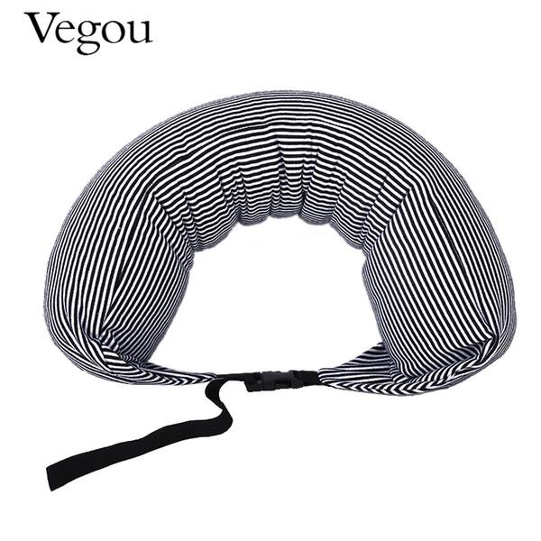 Vegou Brand U Shaped Foam Travel Pillow Particles Neck Health Care Flight Car Nap Sleeping Pillow Waist Support Adjustable