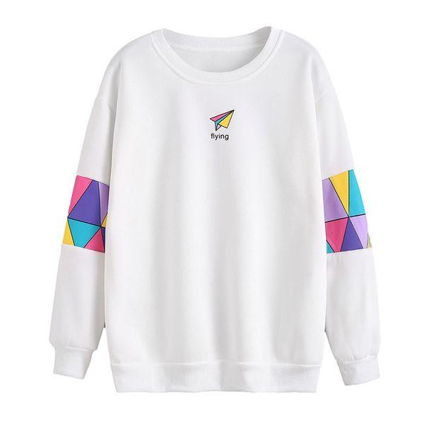 2017 Winter New Fashion Colorful blocks Patchwork Hoodies Women Paper plane Pattern pinnt Pullover Sweatshirt Female Tracksuit