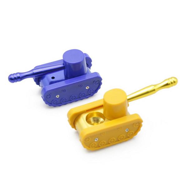 Atacado barato protable Amarelo / Azul tanque de plástico estilo cachimbo de fumo novo tubo de fumo erva seca mão