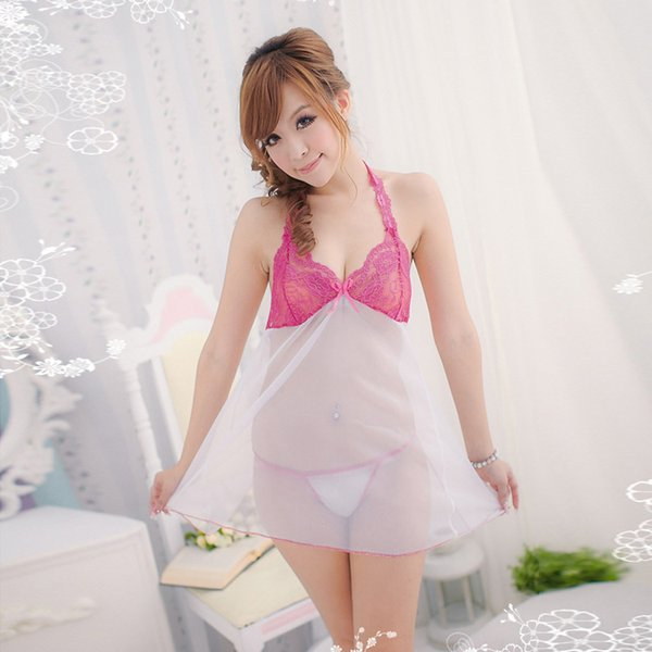 Pyjamas en maille de perspective sexy lingerie blanche après pyjama sexy de split sexy été chemise de nuit