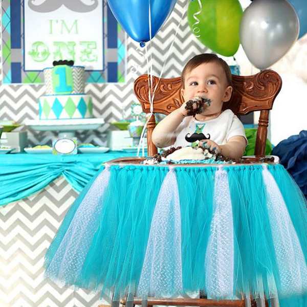 Baby Shower Boy Party Set Tutu Tull Table Skirt for High Chair Baby Shower Decorations for A Girl 1st Birthday Decoration Blue Pink