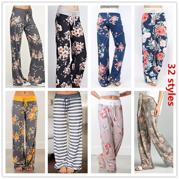 Plus Size Women Floral Print Yoga Palazzo Trousers Pants 32Styles Wide leg Trousers Ties Design Loose Sport Harem Pant High Waist Boho Pants