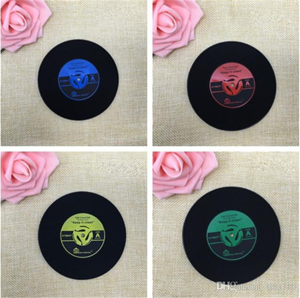 4 Colors Vintage Cup Mat Creative Decor Coffee Coasters Placemat Spinning CD Drinks Record Coasters IA575