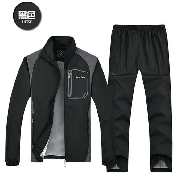 2018 New Fashion Spring Autumn Men Sporting Suit+Pant Sweatsuit Two Piece Set Tracksuit Set For Men Clothing size L-5XL