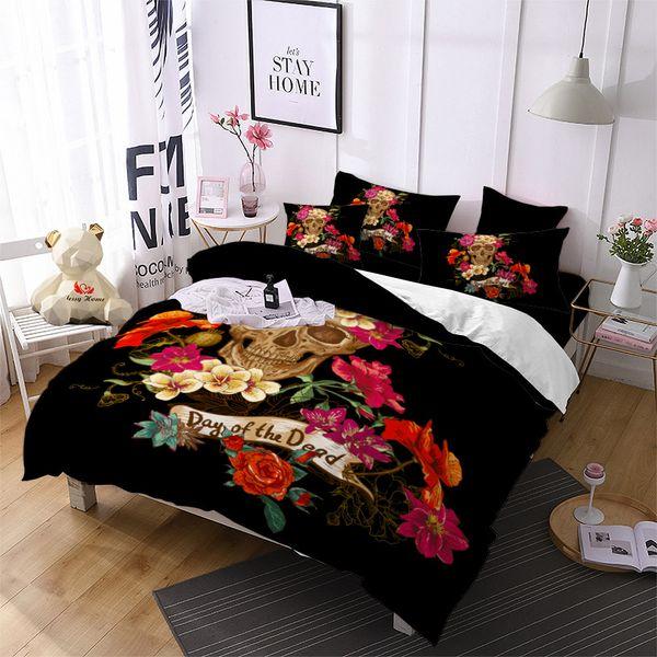Güzel Çiçekler Kafatası Yatak Seti Leer Baskı Nevresim Lüks Lüks Yatak Örtüsü Yastık Ev Dekor Yorgan Kapağı D30