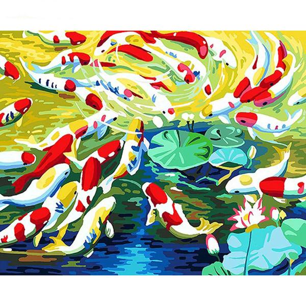 Poisson Sans Cadre Peinture De Bricolage Par Numéros Kit Peinture Acrylique Sur Toile Peint À La Main Peinture À L'huile Art Moderne De Mur pour La Maison