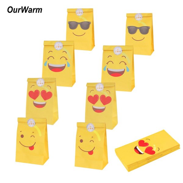 OurWarm 24Pcs Emoji Paper Bags for Gifts Birthday Party Decorations Party Favors Candy Boxes and Gift Bags Emoji Supplies